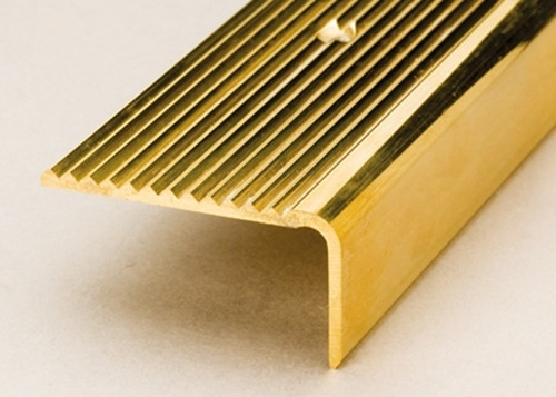 45x23mm Solid Polished Brass Stair Nosings - 2.5m