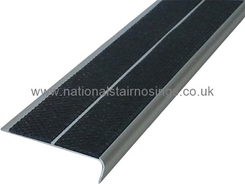 Double Channel Rake Back Anti Slip Stair Nosing Ramp Profile For Outdoor/Indoors - 2.5m