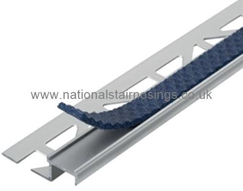 Exterior/Interior Aluminium Anti Slip Tile-In Stair Edge Nosing For Ceramic Tiles & Stone - 2.5m