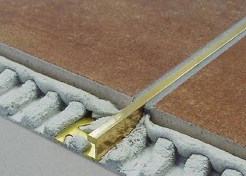 Brass Corner 5mil Wide Straight Edge Tile Trim - 2.5m