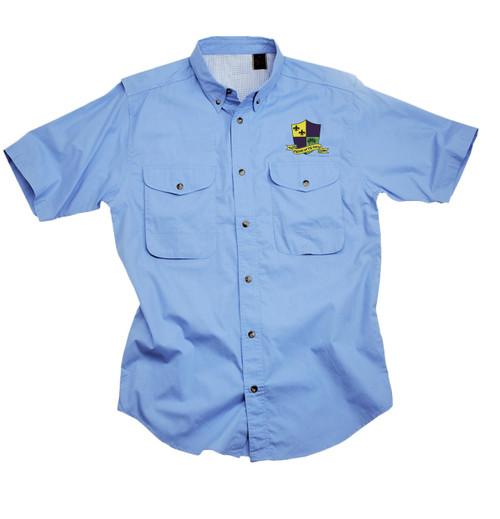 Krewe La Vie Doux Short Sleeve Cotton Poplin Fishing Shirt