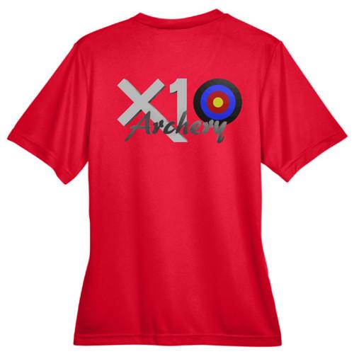 X10 Archery Dri-FIT Shirt, Ladies, Red, Back
