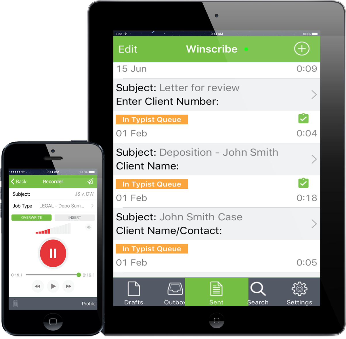 Winscribe Professional Mobile App