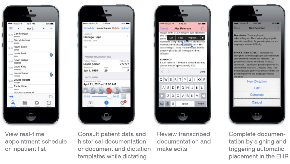 eScription One Mobile Screenshots