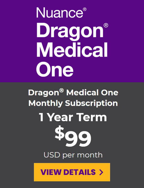 Dragon Medical One Monthly Subscription - 1 Year Term