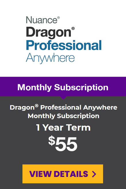 Dragon® Professional Anywhere Monthly Subscription - 1 Year Term