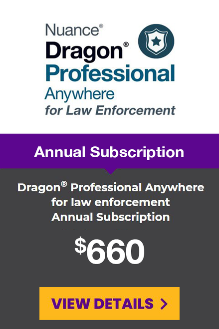 Dragon® Professional Anywhere for Law Enforcement Yearly Subscription - 1 Year Term