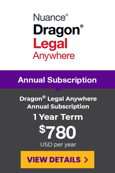 Dragon® Legal Anywhere Yearly Subscription - 1 Year Term