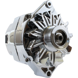 Chrome Alternator for Chevy 10SI One Wire 6 Groove Pulley, ADR0335-C6
