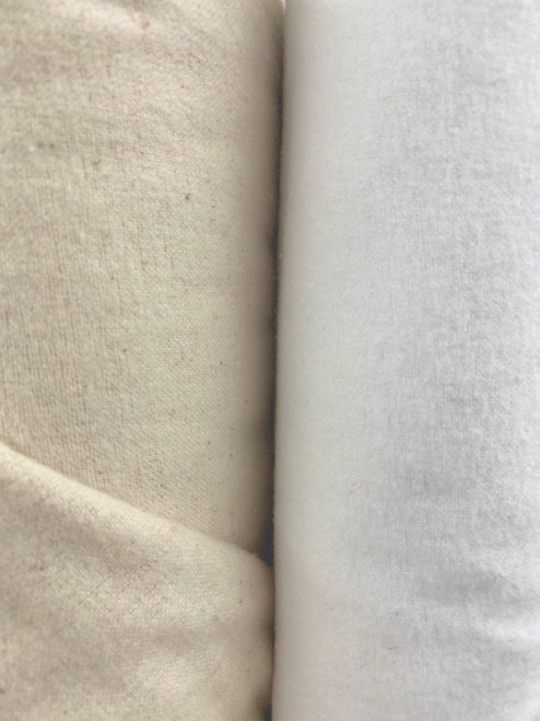 "45"" 100% cotton flannel by the yard available in natural and white."