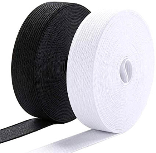"""1"""" elastic available in black & white"""