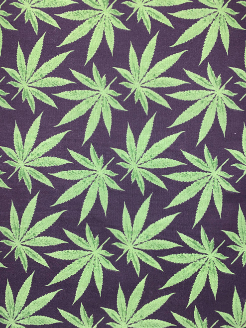 "60"" Broadcloth with Cannabis print in green on black background"