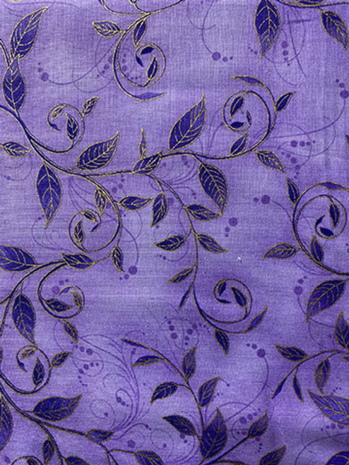 Purple with Gold Leaves 7640-purple