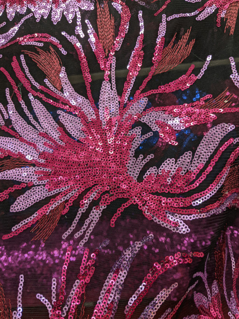 Fuchsia Pink Floral Pattern Sequins