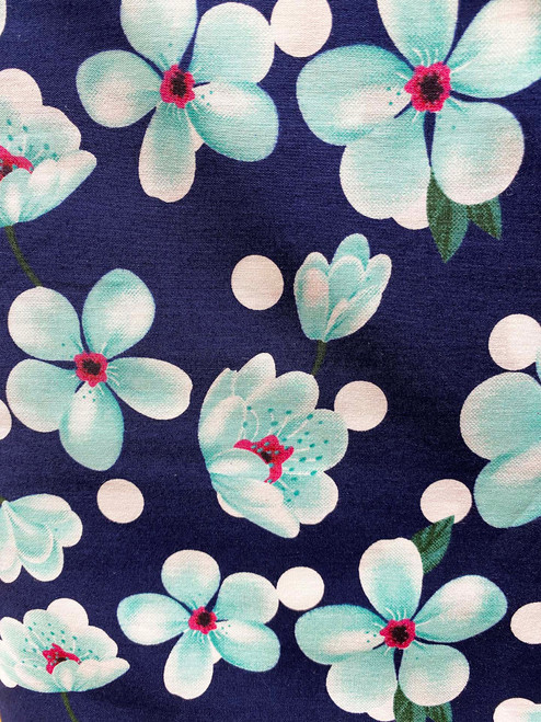 "60"" Aqua Cherry Blossom Cotton"