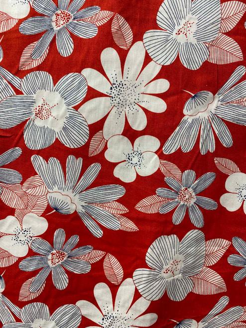 "60"" Red & Grey Blossom Cotton"