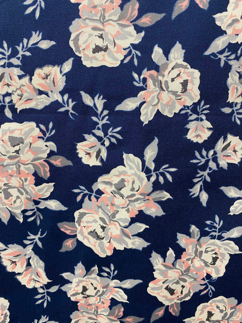 "60"" Peachy Blue Roses Cotton"