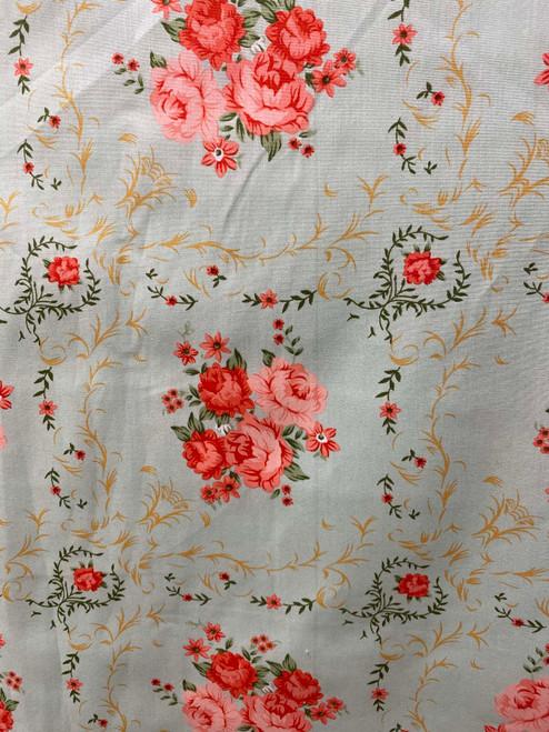 """60""""  Vintage Rose Bouquet Cotton"""