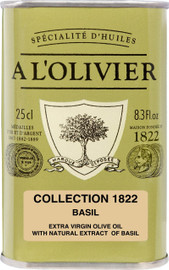 A L'Olivier Olive Oil Infused with Basil 8.3 oz Green Tin