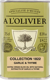 A L'Olivier Olive Oil Infused with Garlic and Thyme 8.3 oz Green Tin