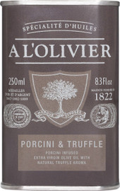 A L'Olivier Olive Oil Infused with Porcini and Truffle 8.3 oz Green Tin