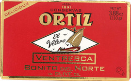 Ortiz 'Ventresca' White Tuna Belly in Olive Oil Oval Tin in a Box 110g