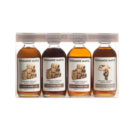 Runamok Smoke & Barrels Collection - One 60ml bottle of each: Bourbon, Rye, Rum, Pecan Wood Smoked cs