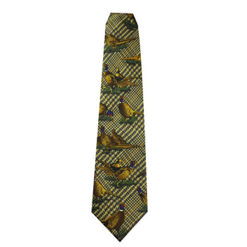 Silk Tie by Bisley, Colour Green featuring large pheasant design, buy from Bradford Stalker
