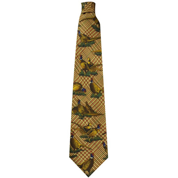 Best price for Silk Tie by Bisley, Colour Brown featuring large pheasant design, on sale from Bradford Stalker.