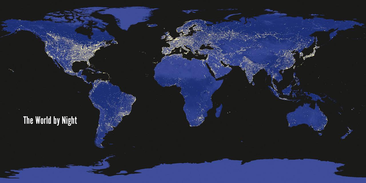 World map day/night Long Card