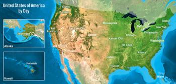 USA map day/night Long Card
