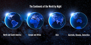 Continents by night Long Card