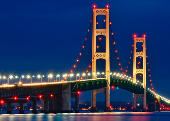 Mackinac Bridge Day Night - Postcard