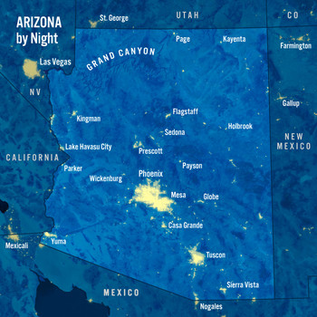 Arizona Day Night Map - Maxi Card