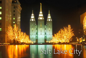 Temple Square in Salt Lake City Day Night - Magnet