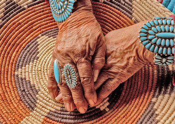 Native Hands and Basket - Postcard