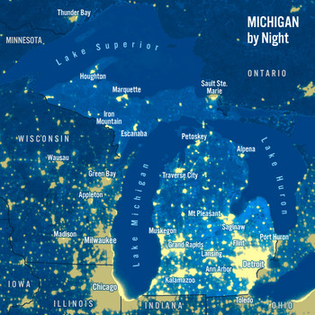 Michigan Day Night Map - Maxi Card