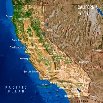 California Day Night Map - Maxi Card