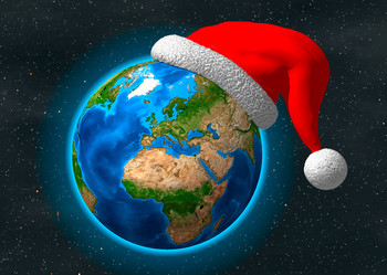 Christmas Earth Greetings Postcard