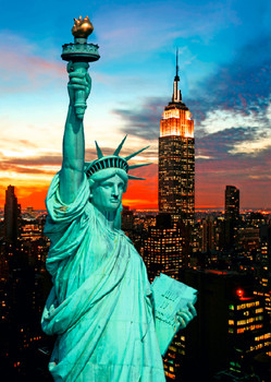 Statue of Liberty & Empire State Bldg - Postcard
