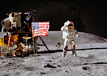 Jumping on the Moon - Postcard