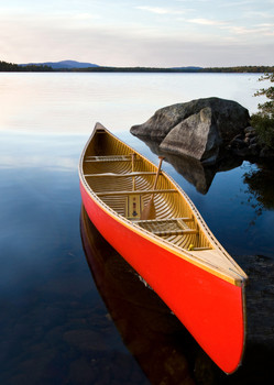 Canoe and lake (Seboies Lake) - Postcard