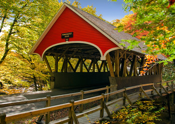 Covered bridge (New England) - Postcard