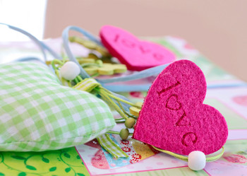 Fabric Hearts Postcard