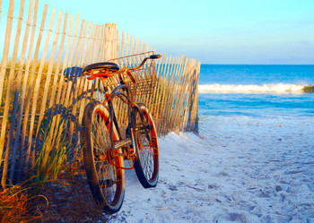 Bicycle on the Beach - Postcard