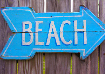 Beach Scene (sign) - Postcard