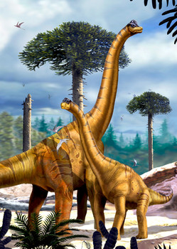 Brachiosaurus w/ Juvenile, vert - Postcard