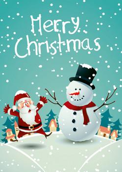 Santa and Snowman - Postcard