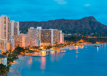 Waikiki day/night - Postcard