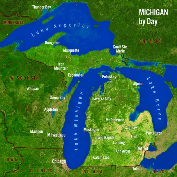 Michigan Day Night Map Maxi Card